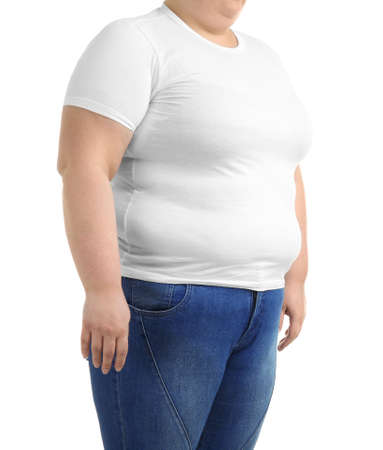 Overweight woman on white background