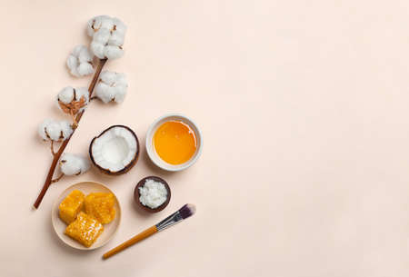Fresh ingredients for homemade effective acne remedies on light background, flat lay