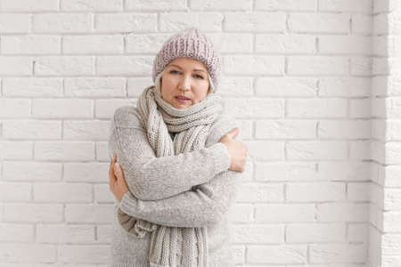 Mature woman in warm clothes suffering from cold on brick background