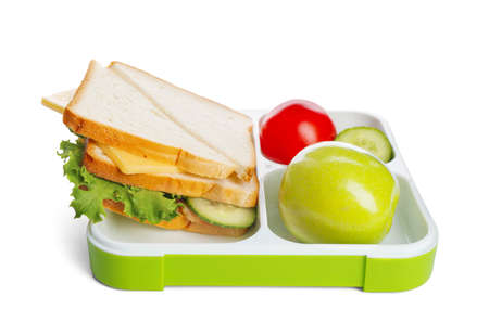 Lunch box with appetizing food on white background