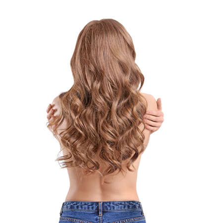 Young woman with long beautiful hair on white background Stock Photo