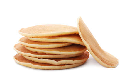 Tasty pancakes on white background Фото со стока