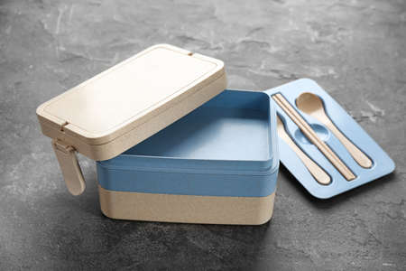 Empty lunch box on table