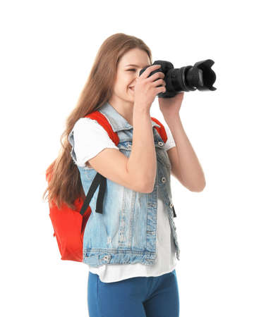 Female photographer with camera on white background 写真素材
