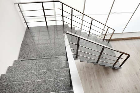 Stone stairs with metal railing indoors, view through CCTV camera Stok Fotoğraf