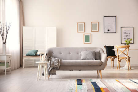 Cozy living room interior with comfortable sofa