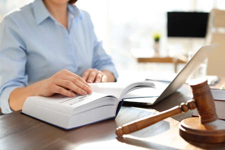 Female lawyer working at table in office