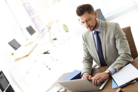 Male lawyer working with laptop in office
