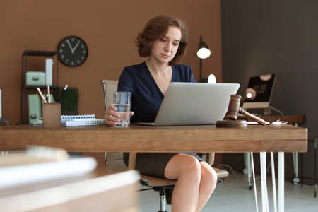 Female lawyer working with laptop at table in office Фото со стока