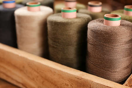 Behälter mit Satz farbiger Nähfäden, Nahaufnahme Standard-Bild