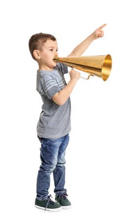 Adorable little boy with vintage megaphone on white background