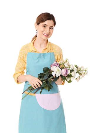 Female florist holding roses on white background