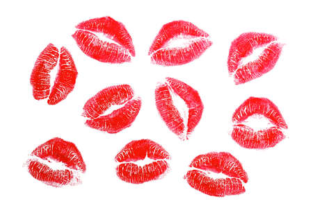 Lipstick kisses, isolated on white background Stock Photo