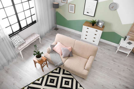 Living room interior with comfortable sofa, view through CCTV camera 版權商用圖片
