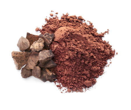 Cocoa powder and pieces of chocolate on white background