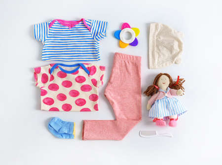 Set of baby clothes and accessories on light background, flat lay 스톡 콘텐츠