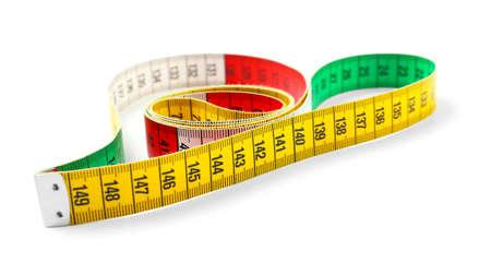Measuring tape on white background 免版税图像