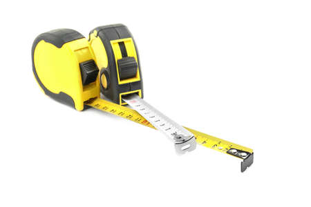 Measuring tapes on white background Stock Photo