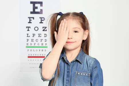 Cute little girl visiting ophthalmologist Stok Fotoğraf