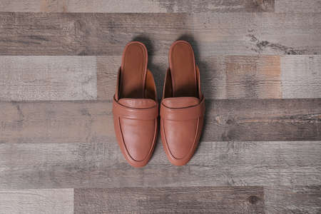 Pair of female shoes on wooden background, top view Archivio Fotografico