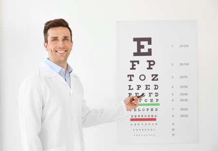 Young ophthalmologist near eye chart indoors Foto de archivo