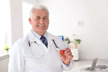 Male doctor holding small heart at workplace in clinic. Cardiology center