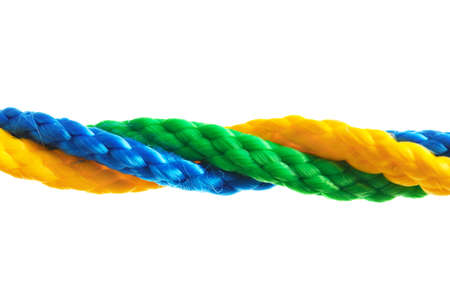 Twisted colorful ropes on white background. Unity concept