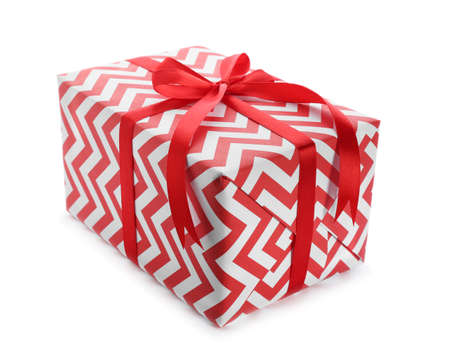 Elegant gift box with bow on white background