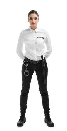 Female security guard in uniform on white background Stock Photo