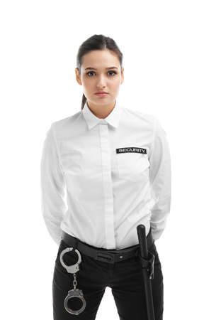 Female security guard in uniform on white background Banque d'images