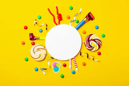 Flat lay composition with birthday party items on color background Фото со стока