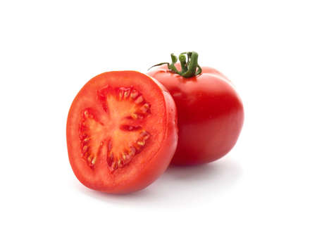 Fresh ripe red tomatoes on white background
