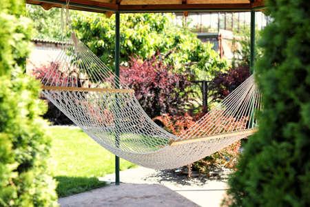 Beautiful English style garden with comfortable hammock on sunny day 免版税图像