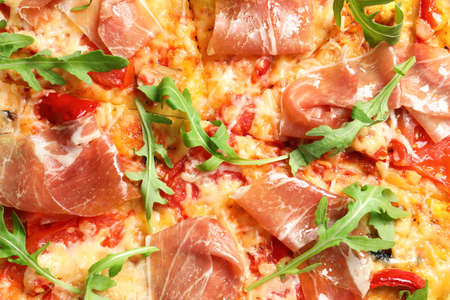 Delicious hot pizza with meat as background, closeup Zdjęcie Seryjne