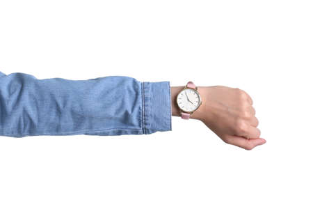 Young woman with wristwatch on white background. Time concept