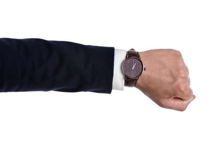 Businessman with wristwatch on white background. Time concept