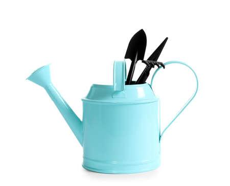 Set of professional gardening tools on white background