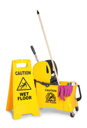 "Safety sign with phrase ""CAUTION WET FLOOR"" and mop bucket on white background. Cleaning tools"