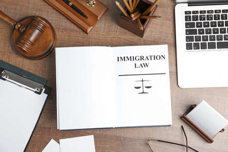 Flat lay composition with book, gavel and laptop on wooden background. Immigration law concept Stock Photo