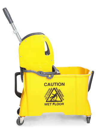 Mop bucket for cleaning supplies on white background