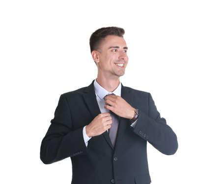 Handsome young man in suit on white background Stock fotó