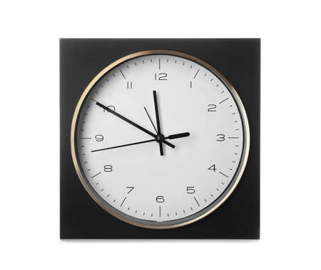 Modern clock on white background. Time management 스톡 콘텐츠