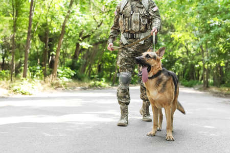Man in military uniform with German shepherd dog outdoors Archivio Fotografico - 106140305