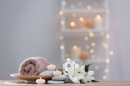 Beautiful spa composition on table in wellness center Stock Photo