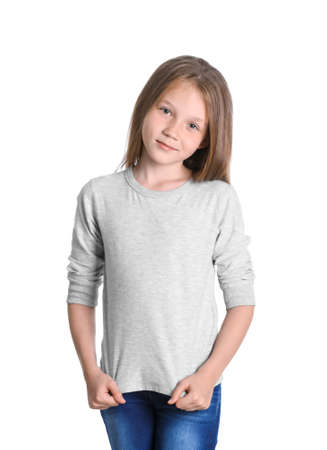 Little girl in long sleeve t-shirt on white background. Mockup for design