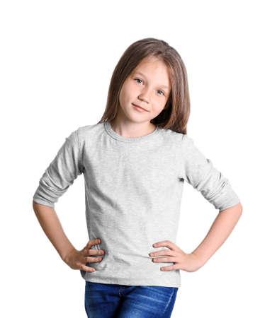 Little girl in long sleeve t-shirt on white background. Mockup for design
