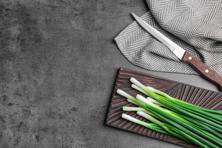 Composition with fresh green onion on table, top view