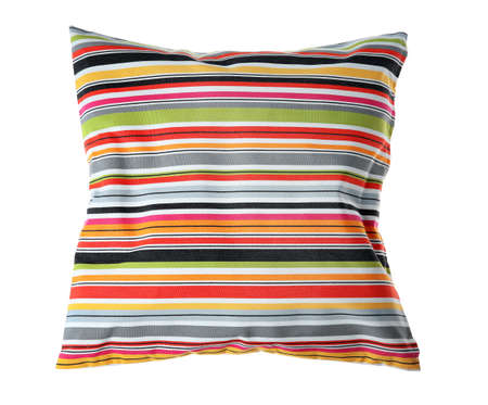 Soft decorative pillow on white background