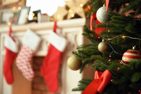 Beautiful Christmas tree near fireplace with stockings indoors, closeup 免版税图像
