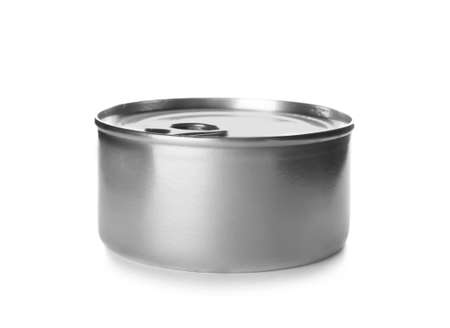 Mockup of tin can with food on white background
